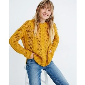 Madewell Wool Alpaca Windemere Pointelle Knit Pullover Sweater